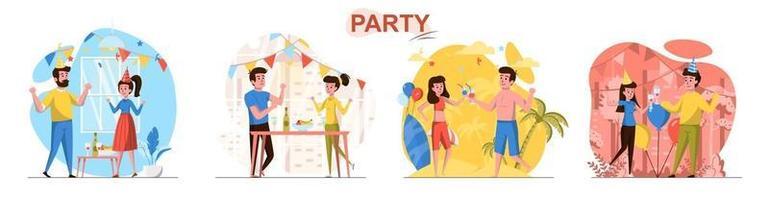 conjunto de cenas de conceito de design plano de festa vetor