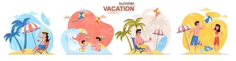 conjunto de cenas de conceito de design plano de férias de verão vetor