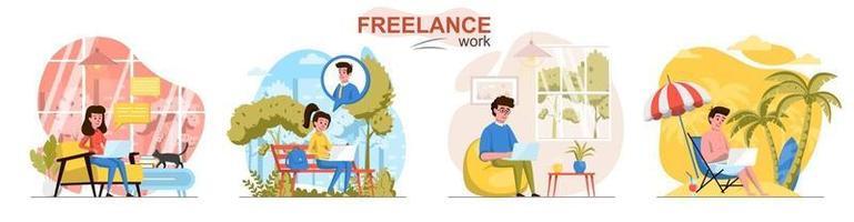 Conjunto de cenas de conceito de design plano freelance vetor