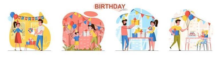 conjunto de cenas de conceito de design plano de aniversário vetor