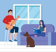 casal na sala de estar, mulher lendo livro com homem tocando violão vetor