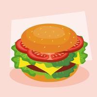 fast food, almoço ou refeição, com hambúrguer grande vetor