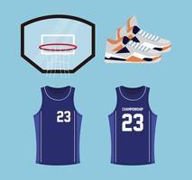 conjunto de ícones de basquete, contém ícones como cesta de basquete, sapatos, camisas vetor
