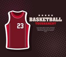 torneio de basquete, emblema, design de basquete, tecido de esporte de camisa vetor