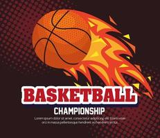 campeonato de basquete, emblema, design com bola de basquete, chama com bola vetor