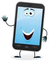 Caricatura, telefone móvel, personagem vetor