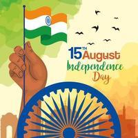 celebração do dia da independência indiana com decoração de roda de ashoka, mão com emblema da bandeira vetor