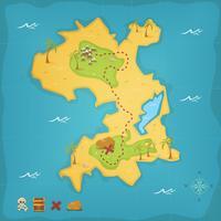 Ilha do Tesouro e Mapa do Pirata vetor