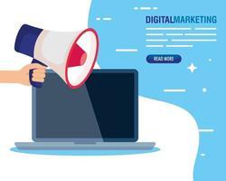 marketing digital online para negócios e marketing de mídia social, marketing de conteúdo, laptop e mão com megafone vetor