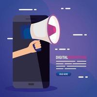 marketing digital online para negócios e marketing de mídia social, marketing de conteúdo, smartphone com megafone vetor