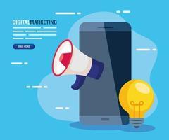 marketing digital online para negócios e marketing de mídia social, smartphone com megafone e lâmpada vetor