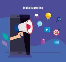 marketing digital online para negócios e marketing de mídia social, smartphone com megafone e lâmpada e ícones de marketing vetor