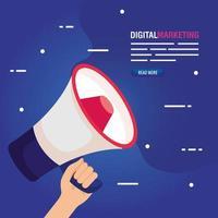 marketing digital online para negócios e marketing de mídia social, marketing de conteúdo, mão com megafone vetor