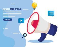marketing digital online para negócios e marketing de mídia social, ícones de megafone e marketing vetor