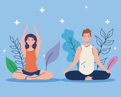 casal meditando na natureza e nas folhas, conceito de ioga, meditação, relaxamento, estilo de vida saudável vetor