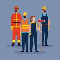 bombeiro com grupo de trabalhadores em covid 19, trabalhadores usando máscara médica contra coronavírus vetor