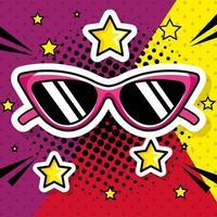 ícone de estilo pop art de óculos de sol vetor