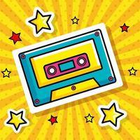 ícone de estilo pop art de cassete vetor