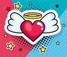 ícone de estilo pop art coração com asas vetor