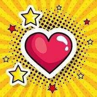 coração com estrelas ícone de estilo pop art vetor