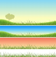 Conjunto de paisagem de grama verde primavera vetor