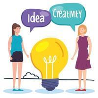 mulheres criativas com lâmpada e balões de fala vetor