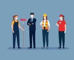 piloto com grupo de trabalhadores em covid 19, trabalhadores usando máscara médica contra coronavírus vetor