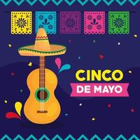 pôster cinco de mayo com violão e decoração vetor
