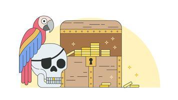 Vetor de tesouro pirata
