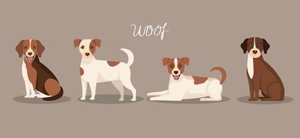 grupo de cães ícones animais vetor