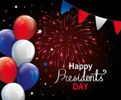 feliz dia do presidente com balões de hélio vetor