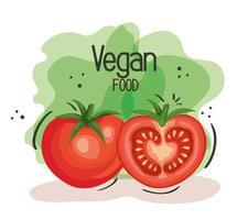 pôster de comida vegana com tomates vetor
