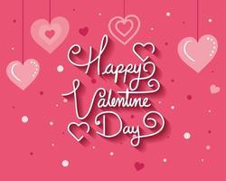 cartão de feliz dia dos namorados com decoração de corações vetor