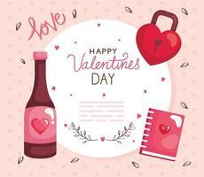 cartão de feliz dia dos namorados com garrafa de vinho e decoração vetor
