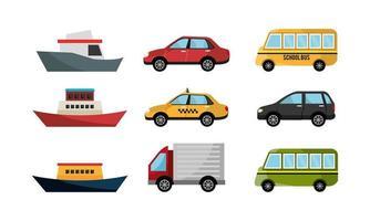 pacote de ícones de barcos e carros vetor
