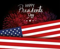 feliz dia do presidente com a bandeira dos EUA e fogos de artifício vetor