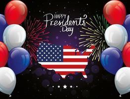 feliz dia do presidente com mapa dos EUA e balões de hélio vetor