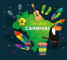 pôster do carnaval brasileiro com mapa e decoração vetor