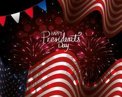 feliz dia do presidente com a bandeira dos EUA e guirlandas penduradas vetor
