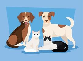 grupo de cães com ícones de gatos vetor