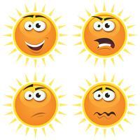 Emoções de ícones de sol dos desenhos animados vetor