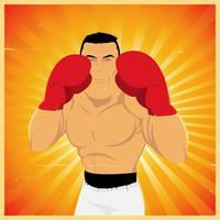 Boxer de grunge na posição de guarda vetor