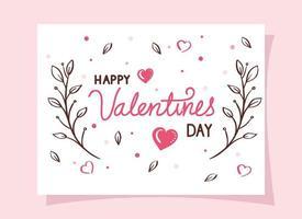 cartões de feliz dia dos namorados com ramos e corações vetor