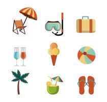 conjunto de ícones de conjunto de temporada de verão vetor