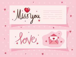 cartões de feliz dia dos namorados com decoração vetor