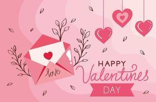 cartão de feliz dia dos namorados com envelope e decoração vetor