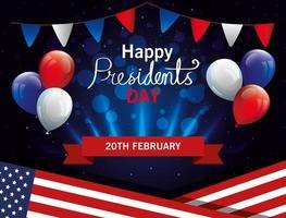 feliz dia dos presidentes com bandeira eua e balões de hélio vetor