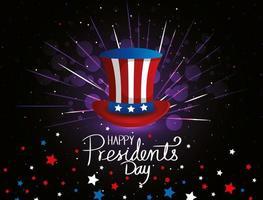 feliz dia do presidente com cartola e estrelas vetor