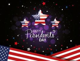 feliz dia dos presidentes com bandeira eua e estrelas vetor