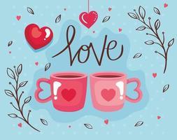 cartão de feliz dia dos namorados com xícaras de café vetor